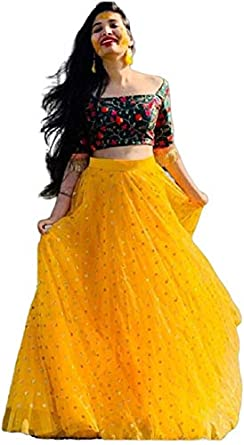 NENA FASHION Women's net Lehenga (yellow bindu dot choli X-Large)