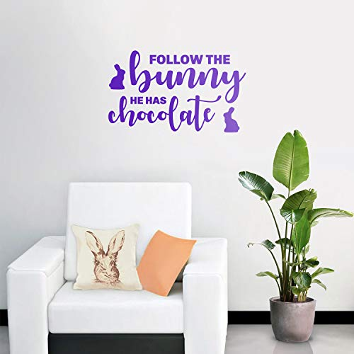 Imprinted Chocolate - Easter Day Vinyl Wall Art Decal - Follow The Bunny He Has The Chocolate - 15