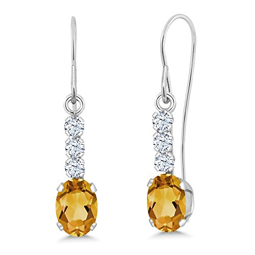 - 0.98 Ct Oval Yellow Citrine 10K White Gold Earrings