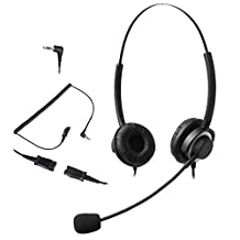 Audicom 2.5mm Call Center Headset Headphone with Mic and Quick Disconnect for Telephone Panasonic KX-NT136 KX-NT343 KX-NT346 KX-NT366 KX-T7603 IP and Cordless Phones with 2.5mm Headset Jack (301QD25D)