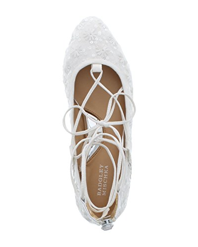 Badgley Mischka Frauen TEERA GHIILLE Lace Ballerinas, Flach White