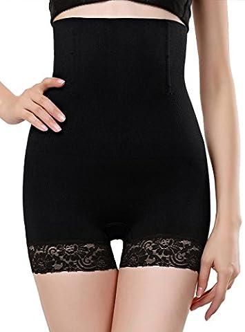 Felice Lady's Sleek Lace Shape Wear, High Waist Firm Control Panties, Sleek Smooth Shaping Brief,Black,XL/XXL
