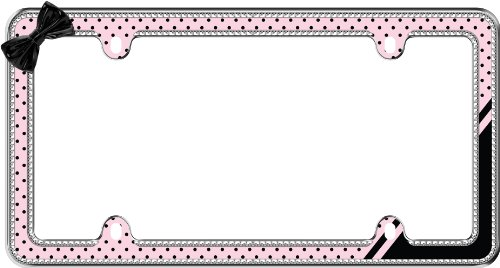 - Cruiser Accessories 18536 Retro Polka Dot Bling License Plate Frame, Chrome/Pink/Black/Clear