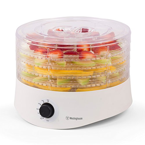 Westinghouse WFD100W New Food Dehydrator, 245 Watts, White Base, 5 Stackable Trays
