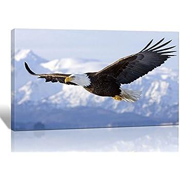 Amazon bald eagle flying art print wall black wood grain spirit up art one set modern giclee prints artwork flying eagle picture print to photo printed altavistaventures Images
