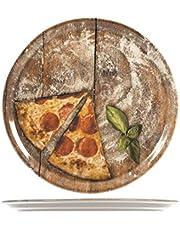SATURNIA sats med 6 pizztallrikar, porslin, sorterade, 33 cm