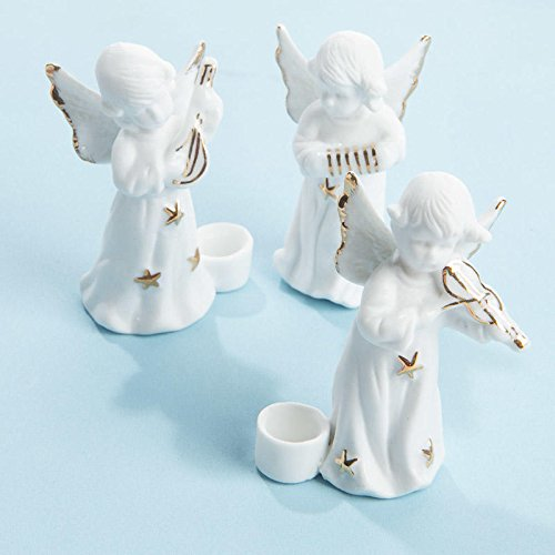 Porcelain Angels Candle Holder (Package of 12 Sweet Porcelain Musical Angel Candle Holders for Fall, Halloween and Thanksgiving Decorations)