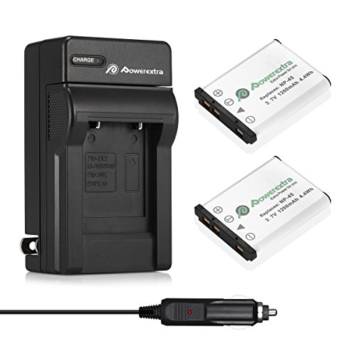 Powerextra 2x Li-ion Battery and Charger for Fujifilm NP-45 NP-45A NP-45B NP-45S, Fujifilm FinePix XP20 XP22 XP30 XP50 XP60 XP70 XP80 XP90 T350 T360 T400 T500 T510 T550 T560 JX500 JX520 JX550 JZ310