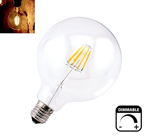 Bonlux Vintage Dimmable LED Filament Bulb G40 - 8W LED Light Bulb G125, Medium Screw E26 Base, Clear Warm White 2700K, LED Edison Bulb 75 Watt Incandescent Replacement (Screw G40 Medium)