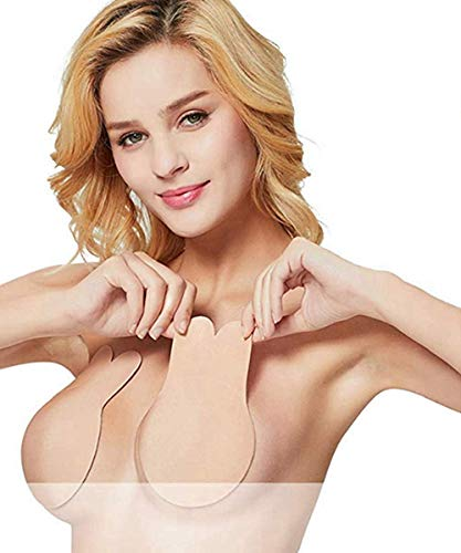 STbra Women Breast Petals Lift Nipple Covers Adhesive Strapless Backless Sticky Bra Stick on Bra (Suits for C/D Cup), Beige
