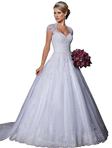 beaded angel sleeve wedding dress - 3