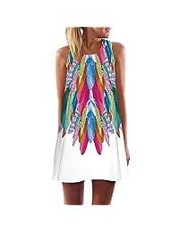 Changeshopping Women Colorful Vintage Sleeveless 3D Floral Print Tank Mini Dress