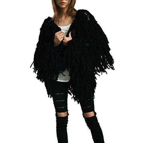 Kanpola Women 's Winter Warm Oversized Fur Outwear Chaqueta de Abrigo Peludo Knit Cardigan para Mujer Negro