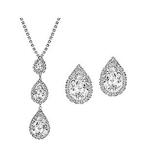 NEOGLORY Czech Rhinestone Teardrop Jewelry Sets Drop Earrings and Necklace Crystal Bridal Jewelry Gift