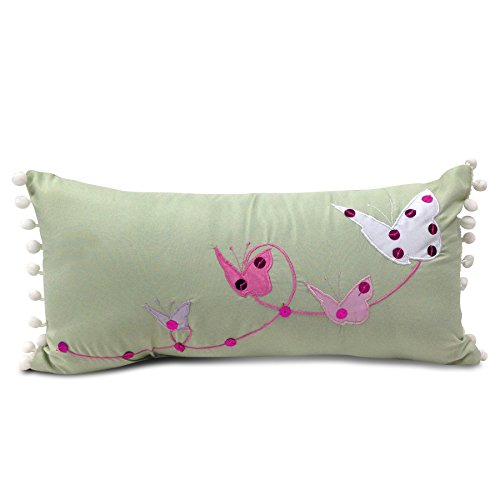 Beco Home Children's Collection: Decorative Accent/Throw Pillow, Butterflies/Pom-Poms by Beco Home