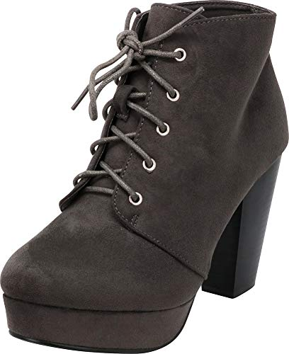 Heel Platform Ankle Lace Charcoal up Stacked Bootie Cambridge Women's Imsu Chunky Select 8IqU0O