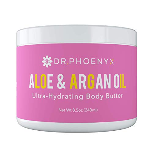 Dr. Phoenyx Aloe & Argan Oil Ultra-Hydrating Body Butter Infused with Shea Butter, Mango Butter, Vitamin E - Luxurious Feel, Smells Amazing, Absorbs Fast - 8.5 oz, Coconut Colada