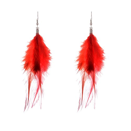 Lureme Bohemian Style Feathers with Small Feather Tassel Dangle Earrings for Women and Girls (02004736)