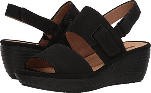 Clarks Nubuck Sandals (CLARKS Women's Reedly Breen Wedge Sandal, Black Nubuck, 10 Wide US)