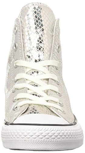 Converse Womens Chuck Taylor All Star Metallic Snake Hi Fashion Sneaker Argento / Nero / Bianco