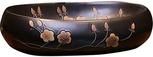 洗面ボール・洗面器 洗面所 リフォーム 手洗い器インダストリアルアーティストのカウンター盆地の上 中国のビンテージセラミック洗面器 アンティーク梅の洗面台 (Color : Black, Size : 60*40*15cm)