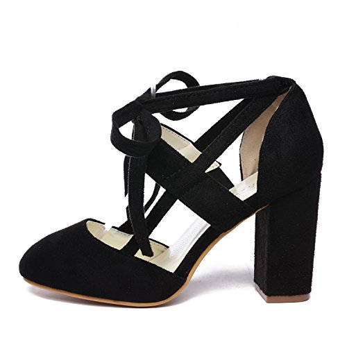 GATUXUS Women Sexy High Heels Pumps Sandals Suede Ankle-Wrap Straps Heeled Shoes (6 B(M) US, Black)