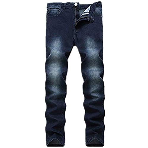 - NUWFOR Men's Fashion Slim Fit Personality Stretchy Casual Solid Jeans Denim Pants(Dark Blue,US:31 Waist:31.89