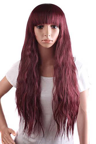 Premium wigs liap Cosplay wigs girls new style corn hot with long hair in a hair styling , wine red