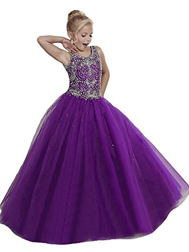 WZY Girls Pageant Dresses Handmade Beading Flower Girl Birthday Party Gowns US 8 Purple by WZY