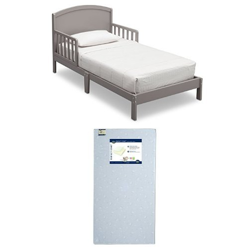 Delta Children Abby Toddler Bed, Grey  with Serta Perfect Start Crib and Toddler Mattress
