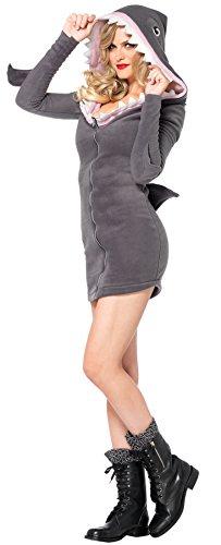 UHC Women's Cozy Shark Zipper Front Fleece Dress Adult Halloween Costume, L (Cozy Shark Dress Adult Womens Costumes)