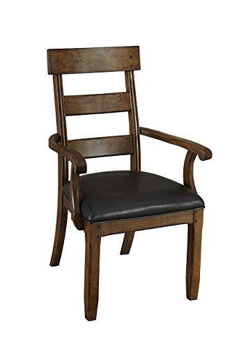 A-America Ozark Ladderback Arm Chair with Upholstered Seat - 2 Chairs, Warm Pecan