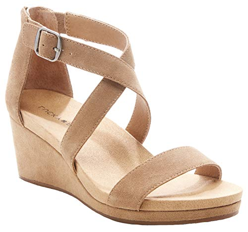 Lucky Brand Women's Kenadee Wedge Sandal, Beige, 11 W US