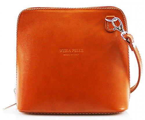 H&G Vera Pelle Trapezoid Shaped Mini Italian Real Leather Cross-Body Handbag (Purple) Camel
