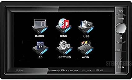 POWER ACOUSTIK PD-650 Double DIN Multimeadia Source with Motorized 6.5-Inch High Definition LCD Touch Screen