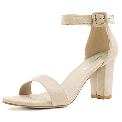 Allegra K Women's Open Toe Chunky High Heel Ankle Strap Sandals (Size US 7) Beige