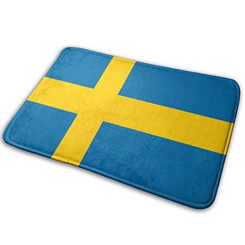 GoldK Sweden Flag Print Non-Slip Doormat Bath Mat Rug Halloween Decoration(15.75x23.62 Inch)