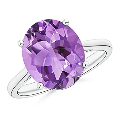 Angara Classic Oval Amethyst Solitaire Ring With Petal Motifs N6D0E6h