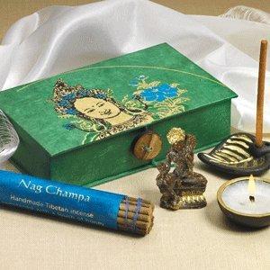 Buddhist-Travel-Altar-Box-Green-Tara-4-X-6