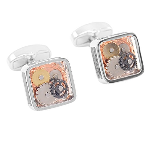 GOHUOS Vintage Steampunk Square Mechanical Wheel Gear Shirt Cufflinks with Gift Box Silver (Vintage Cufflinks Square)