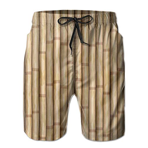 - Bamboo Wood Fence Background Men's Funny Swim Trunks Quick Dry Summer Surf Beach Board Shorts with Mesh Lining/Side Pockets White