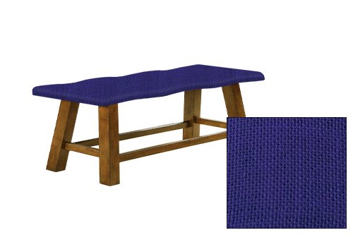 "Honey Oak 24"" Tall Counter Height Wavy Bench Featuring Your Choice of a Colored Burlap Covered Padded Seat Cushion (Blue) (Banquette Cushion)"