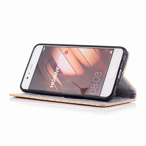 Yiizy Huawei P10 Custodia Cover, Amare Design Sottile Flip Portafoglio PU Pelle Cuoio Copertura Shell Case Slot Schede Cavalletto Stile Libro Bumper Protettivo Borsa (Dorato)