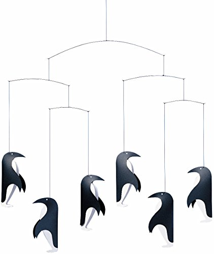Flensted Mobiles Penguin In Tails Hanging Nursery Mobile - 18 Inches Plastic Penguin Fairy Lights