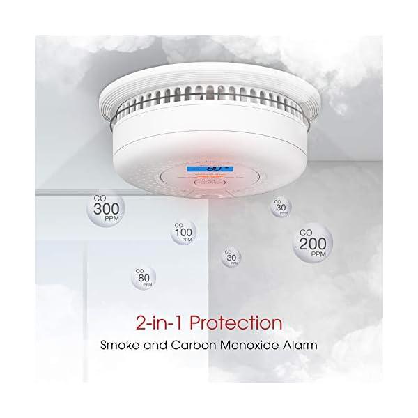41yypFE86BL X-Sense Rauch- Kohlenmonoxid Melder 10-Jahres-Rauch- und CO-Alarm, mit LCD Anzeige und Prüftaste, geprüft nach DIN…