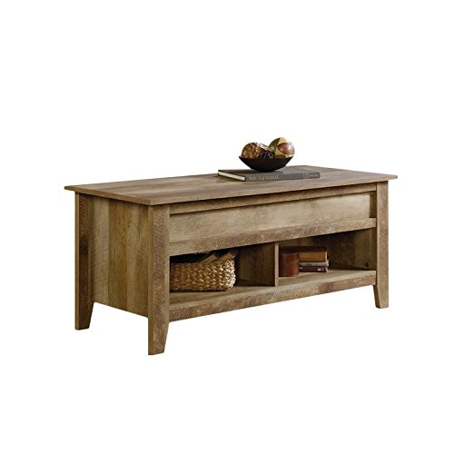 Sauder Dakota Pass Lift-Top Coffee Table, Craftsman Oak finish (Side Trunk Table Square)