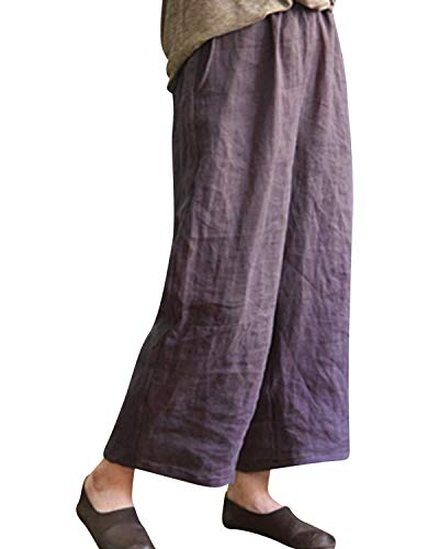 Elastic Pocket Two Waist (BBYES Women's Linen Pants Lantern Tapered Elastic Waist Cropped Pants Trousers with Pockets Casual Capri Pants Purple 4XL)