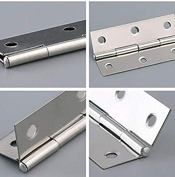 plateado no incluye tornillos bisagras para armario Vogueing Tool Bisagra para puerta plegable varios tama/ños bisagras de acero inoxidable caj/ón puerta