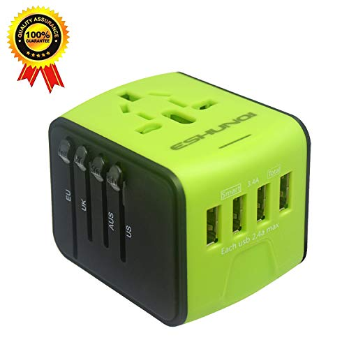 SONGDAY International Travel 3.4A 1500W 4 USB Ports All in One Worldwide AC Wall Outlet Plugs Universal Power Adapter