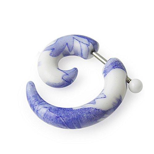 Fancy Fake Uv Ear Plug - 8MM Colorful Fancy Lavender Flower UV Spiral with 16 Gauge 316L Surgical Steel Fake Ear Plugs